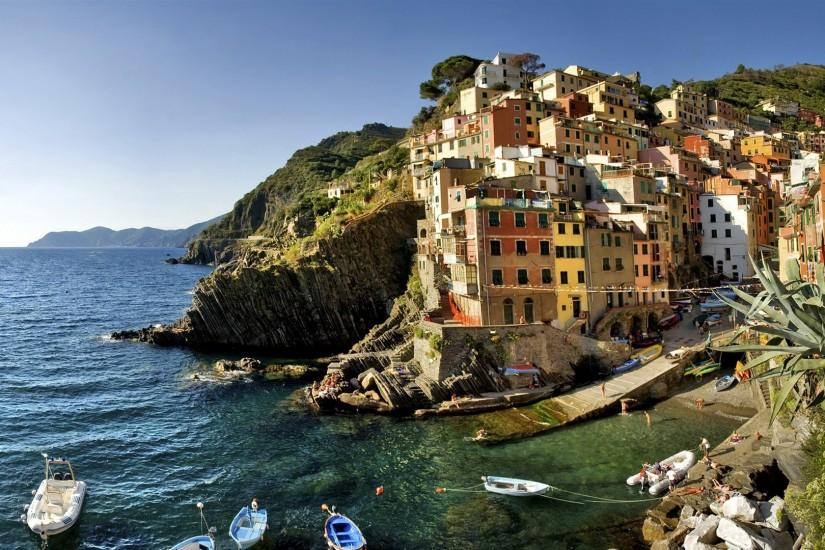 Preview wallpaper italy, beach, boats, houses 1920x1080