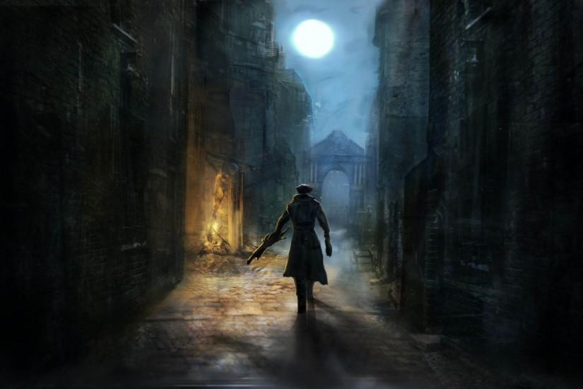 The Hunter alone in a Dark Street - Bloodborne 1920x1080 wallpaper