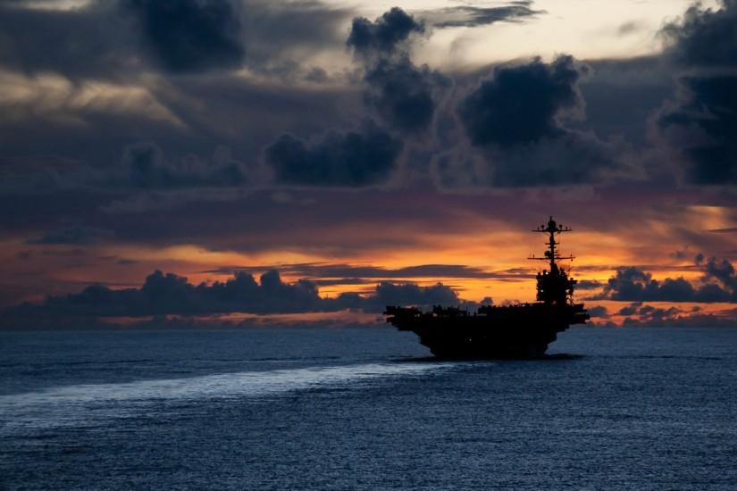 Aircraft Carriers Military Sunset US Navy Wallpaper