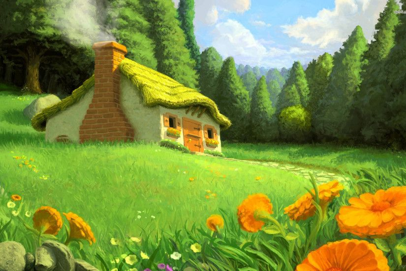Beautiful Fairy Tale Background View Mystic Stock Illustration 1920x1200