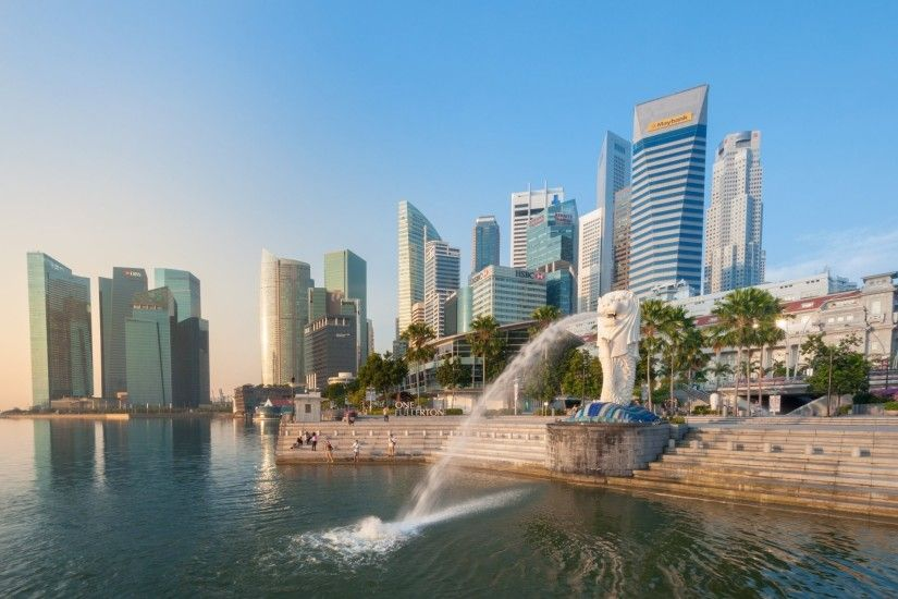 merlion fountain marina bay singapore singapore fountain gulf embankment  stairs buildings