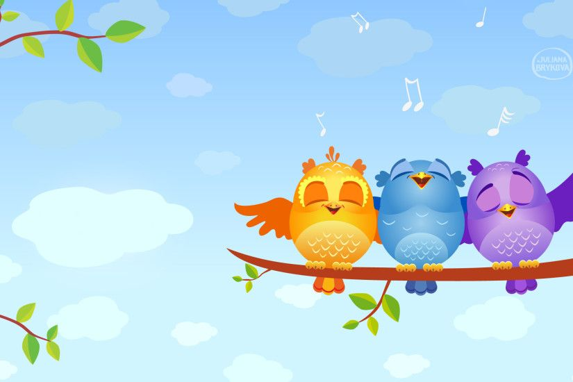 Cute Cartoon Birds Singing #6994242