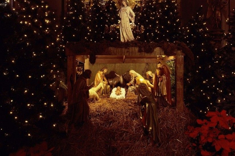 Preview wallpaper christmas, jesus, nurseries, christmas trees, garland,  holiday, people