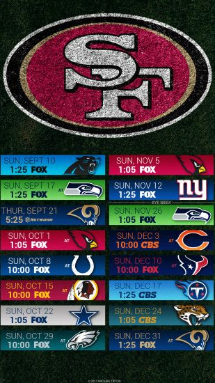 San Francisco 49ers 2017 schedule turf logo wallpaper free iphone 5, 6, 7,  ...