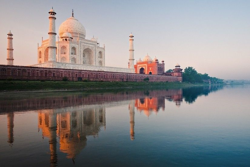 Preview wallpaper india, taj mahal, river, yamuna, dawn 1920x1080