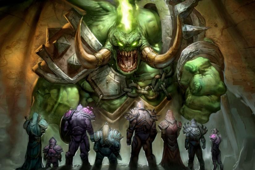 Preview wallpaper world of warcraft, wow, heroes, warriors, demon 2048x1152
