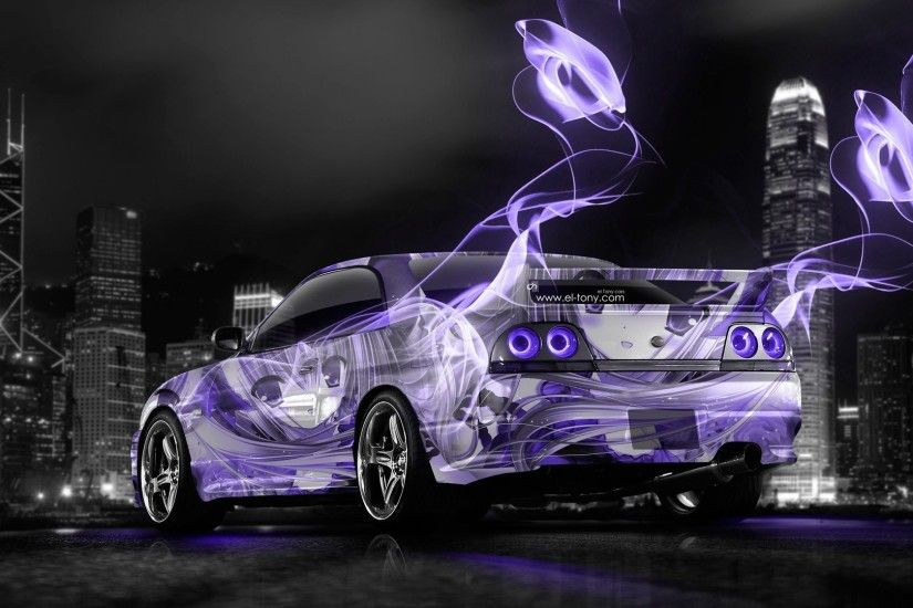 tony kokhan nissan skyline gtr r33 jdm anime girl aerography city violet  neon colors energy el
