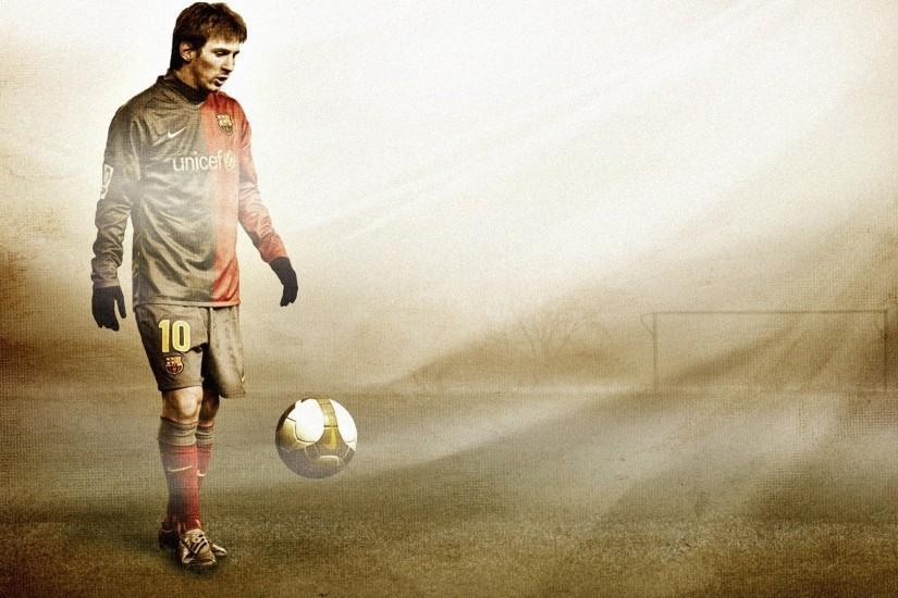 Preview wallpaper lionel messi, football, ball, field, gate, footballer  1920x1080