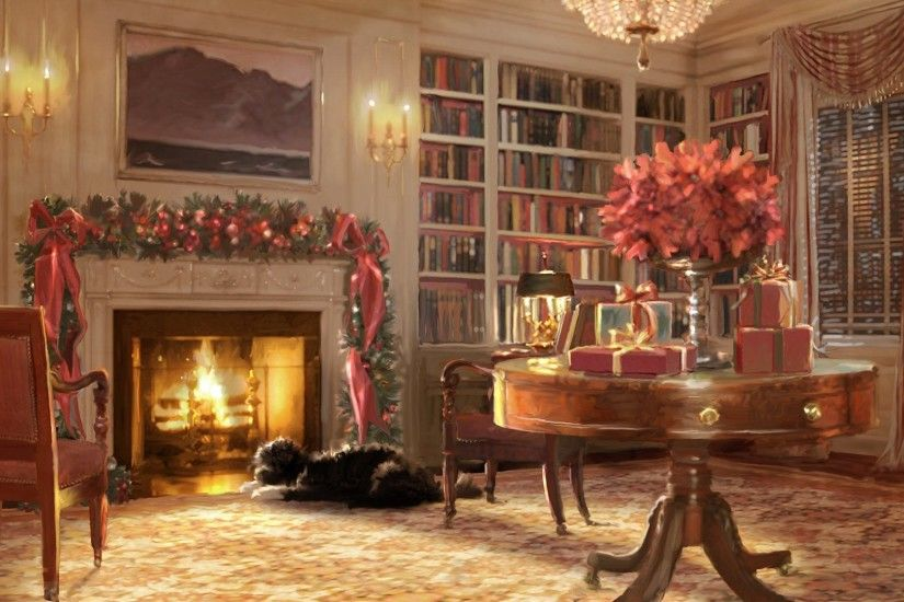 Christmas Fireplace Wallpaper .