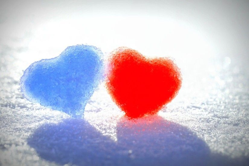 Blue Red Snow Hearts Wallpapers