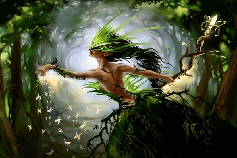 Wallpaper forest fairy