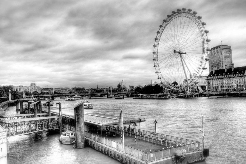 The London Eye On The Thames black and white city wallpapers HD.