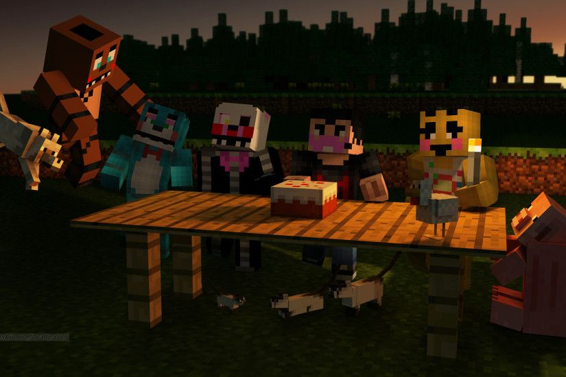 my wallpaper of minecraft fnaf toy animatronics corgratulating markiplier  beating 10/20 mode I accually