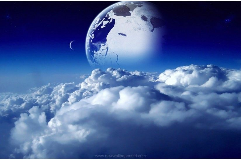 BLUE PLANET ABOVE THE CLOUDS HD WALLPAPER