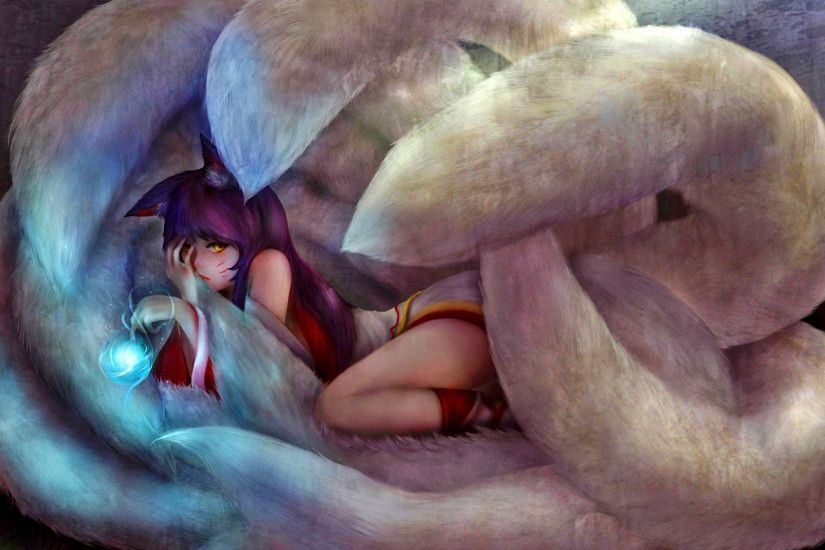 Video Game - League Of Legends Fantasy Ahri (League Of Legends) Anime  Wallpaper