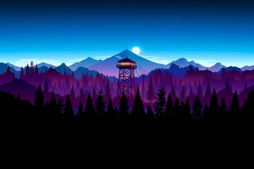 Firewatch Nighttime Scene (x-post from r/AmoledBackgrounds)