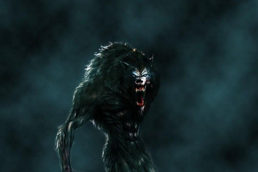 3840x1200 Wallpaper werewolf, mouth, fangs, flying, fog