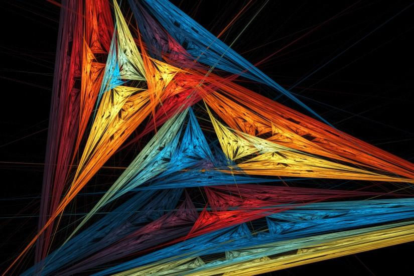 ... Abstraction, background, triangle, fractal art, hd, wallpaper hd, rays,