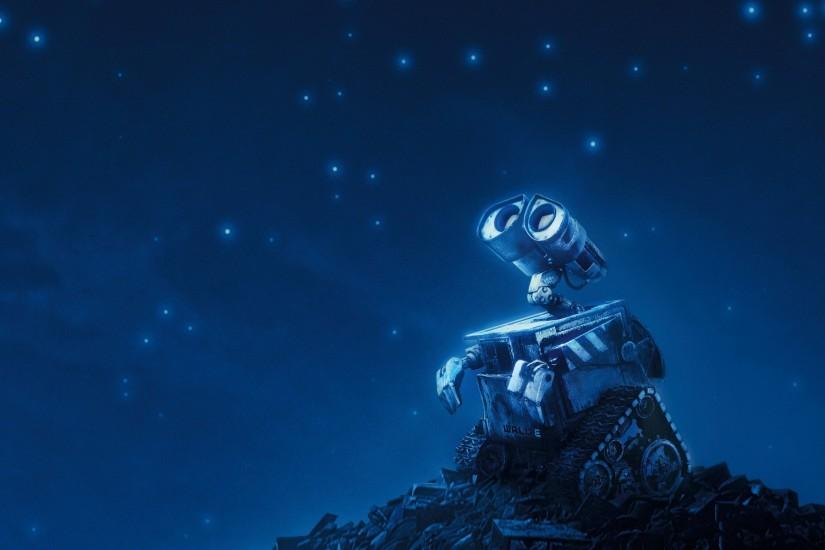 The robot looks at the starry sky