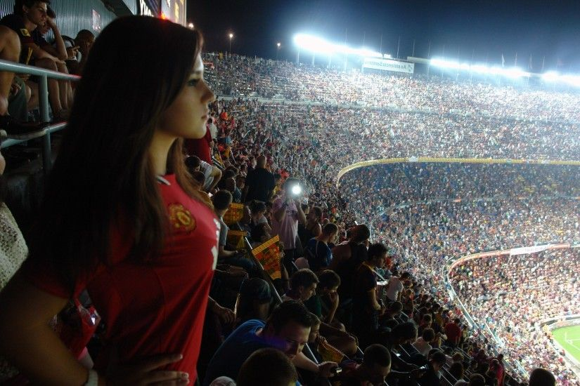 sports, Boobs, Manchester United, Camp Nou, Stadium, Brunette, Women, Fans  Wallpapers HD / Desktop and Mobile Backgrounds