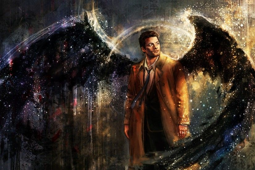 Castiel, Drawing, Supernatural, Artwork, Wings, Painting Wallpapers HD /  Desktop and Mobile Backgrounds