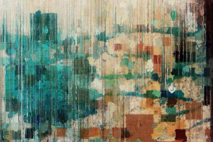monotype print, wall, colors, texture, blue, background, hd wallpaper