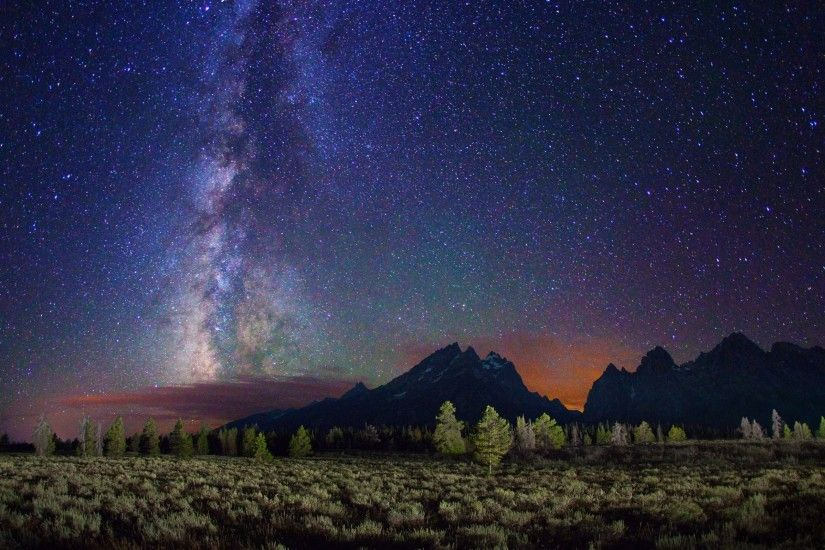 Preview wallpaper milky way, stars, mountains, field, night 3840x2160