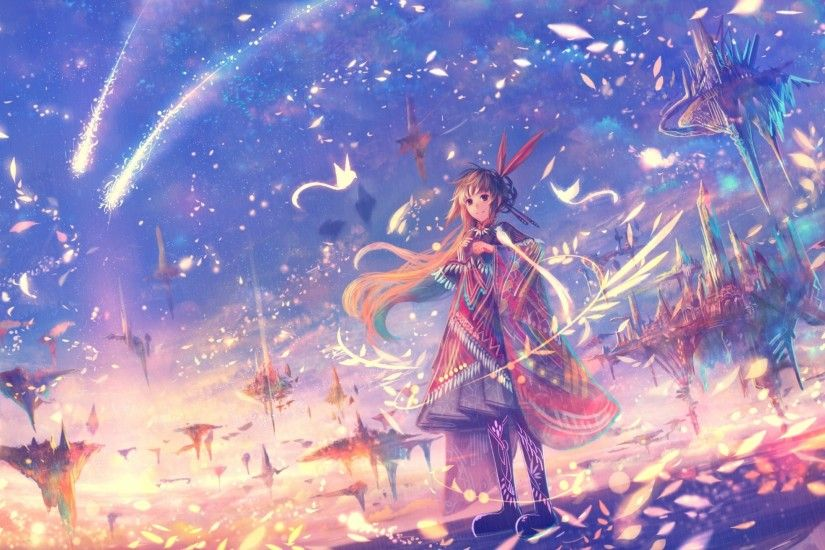 Anime Girl, Fantasy World, Petals, Floating Island