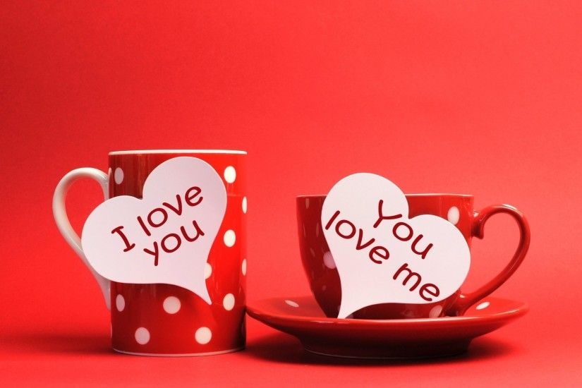 cup mug heart heart inscription i love you you love me background red
