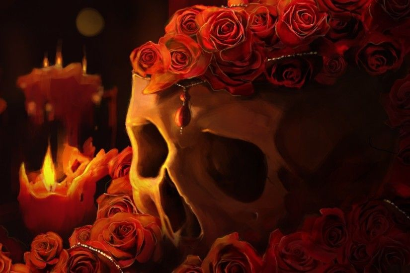 Skulls Roses Candles Fantasy Candle Skull Goth Gothic Fire Dark Wallpaper  At Dark Wallpapers