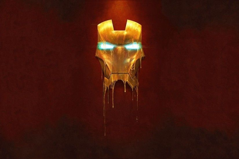 Ironman Melting Mask Wallpaper - 1920 x Great digital painting of Ironman's  mask from the Avengers melting.
