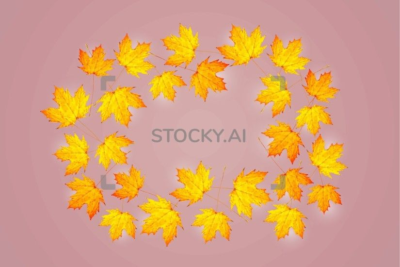 Image of Autumn background with maple leaves