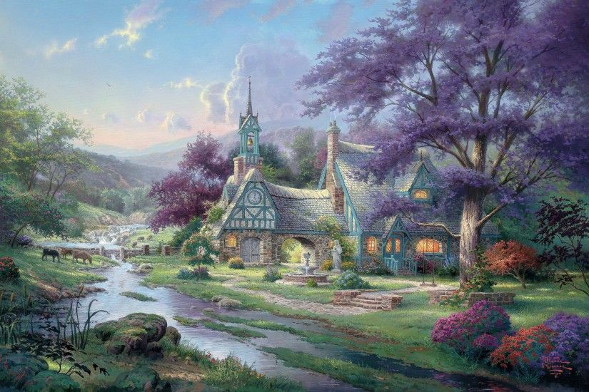 Clocktower-Cottage.jpg (2946×1957) by Thomas Kinkade | Paisajes  encantadores y encantados | Pinterest | Thomas kinkade and Prints