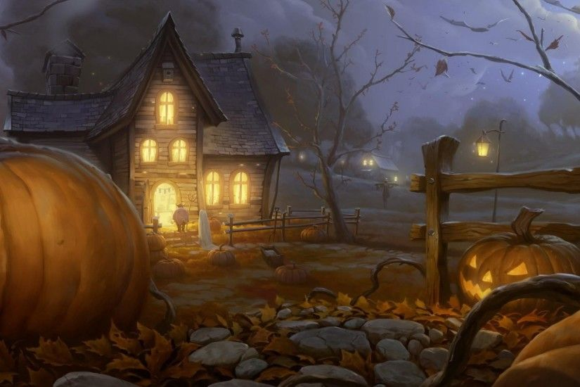 1920x1080 Wallpaper halloween, holiday, night, home, light, pumpkin,  lantern jack