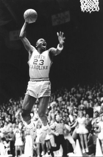 "February ""Michael Jordan with his mouth open, going up for a slam dunk  during a UNC vs. UVA basketball game at Carmichael Auditorium (winning  basket in the ..."