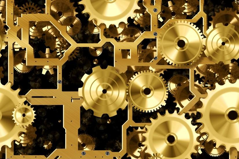 Another Gold or Brass Cogs and Gears Seamless Background