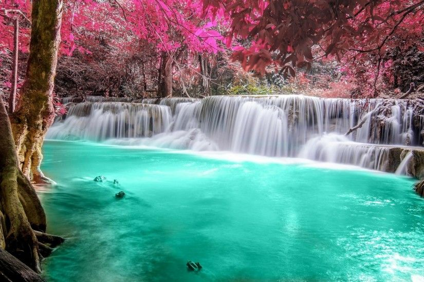 waterfall, Forest, Colorful, Nature, Thailand, Trees, Landscape, Pink,  Turquoise, White, Tropical, River, Pond, Leaves Wallpapers HD / Desktop and  Mobile ...