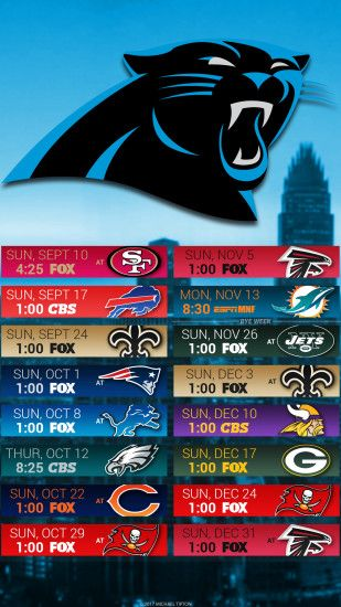 Carolina Panthers 2017 schedule turf logo wallpaper free iphone 5, 6, 7, ...