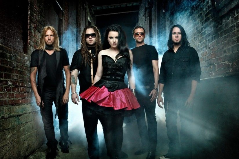 Preview wallpaper evanescence, girl, skirt, band, walls 1920x1080