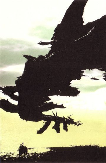 Postcard concept art from the video game Shadow of the Colossus