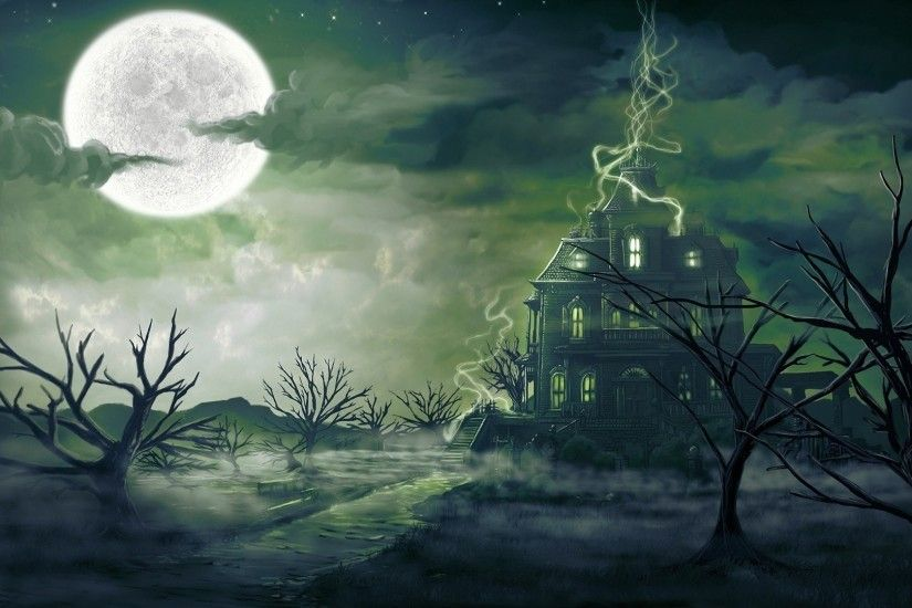 Clouds trees stars Moon haunted house wallpaper | 1920x1080 | 301763 |  WallpaperUP