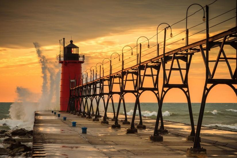 Beautiful Lighthouse In South Haven Michigan HD Desktop Background wallpaper  free