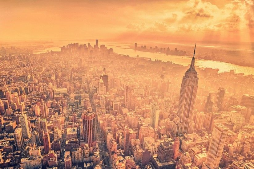1920x1080 Wallpaper new york, city, sun, clouds, home, skyscrapers, streets
