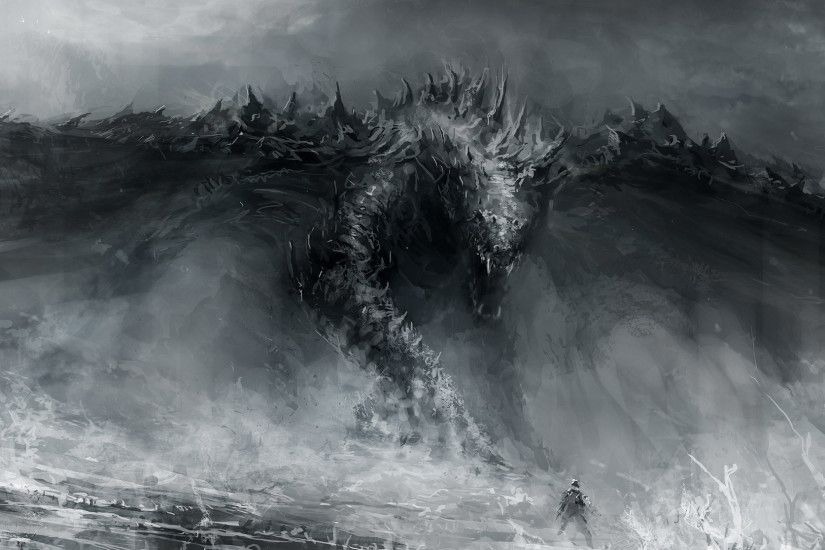 Black And White Dragon Drawings Wallpapers HD / Desktop and Mobile  Backgrounds