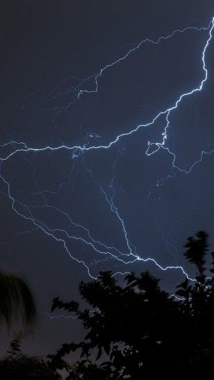 Thunder Bolt Sky Night Dark #iPhone #6 #plus #wallpaper