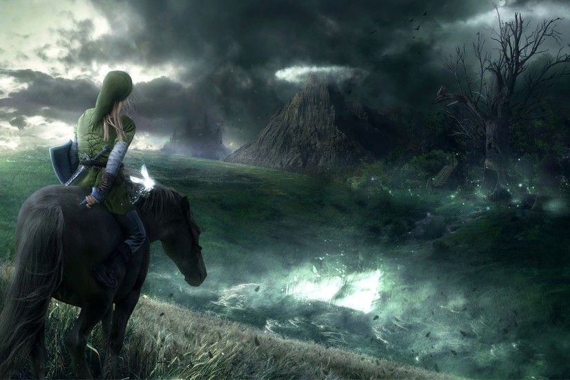 The Legend of Zelda Ocarina of Time Link and Epona looking at Death Mountain
