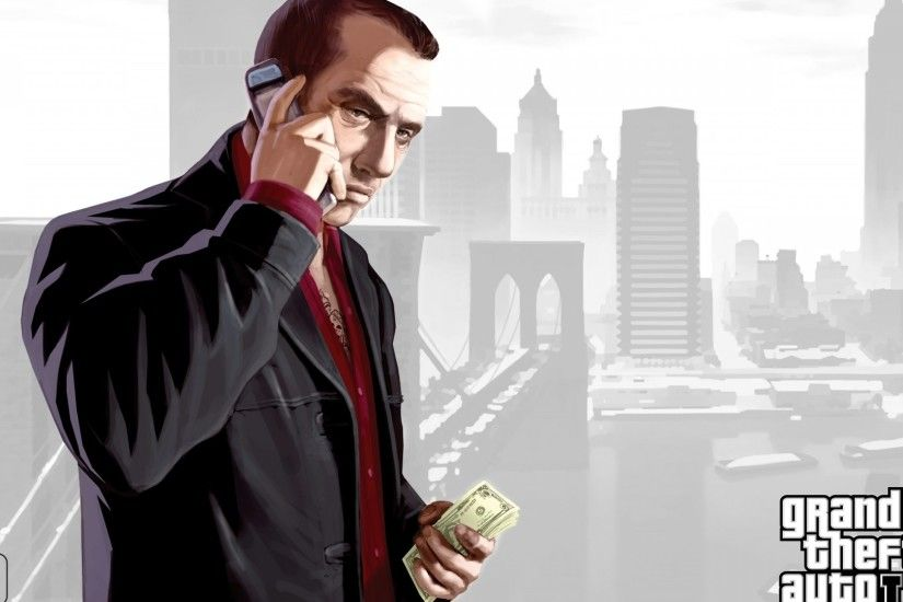 Preview wallpaper faustin, gta 4, grand theft auto 4, man, cellphone,