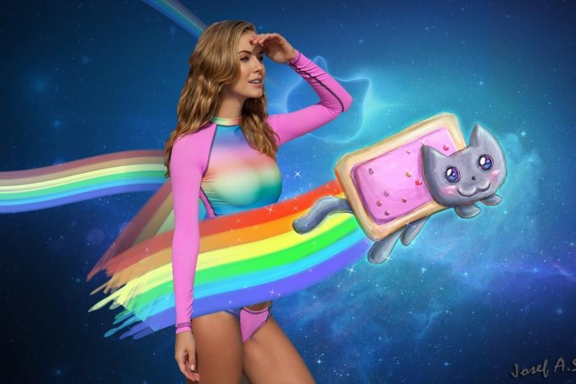 Photoshopped a sexy girl in to a smooth nyan cat wallpaper. HD 1080p  Wallpaper