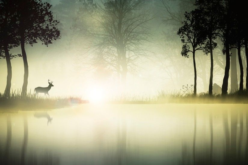 nature, Environment, Landscape, River, Deer, Animals Wallpapers HD /  Desktop and Mobile Backgrounds