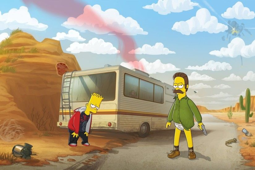 The Simpsons, Breaking Bad, Humor, Ned Flanders, Bart Simpson, Crossover,  RV Wallpapers HD / Desktop and Mobile Backgrounds